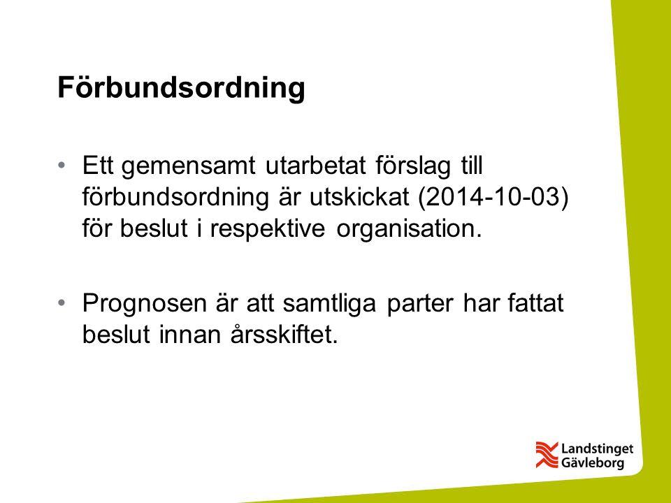 Förbundsordning Ett gemensamt utarbetat förslag till förbundsordning är utskickat (2014-10-03) för beslut i respektive organisation. Prognosen är att