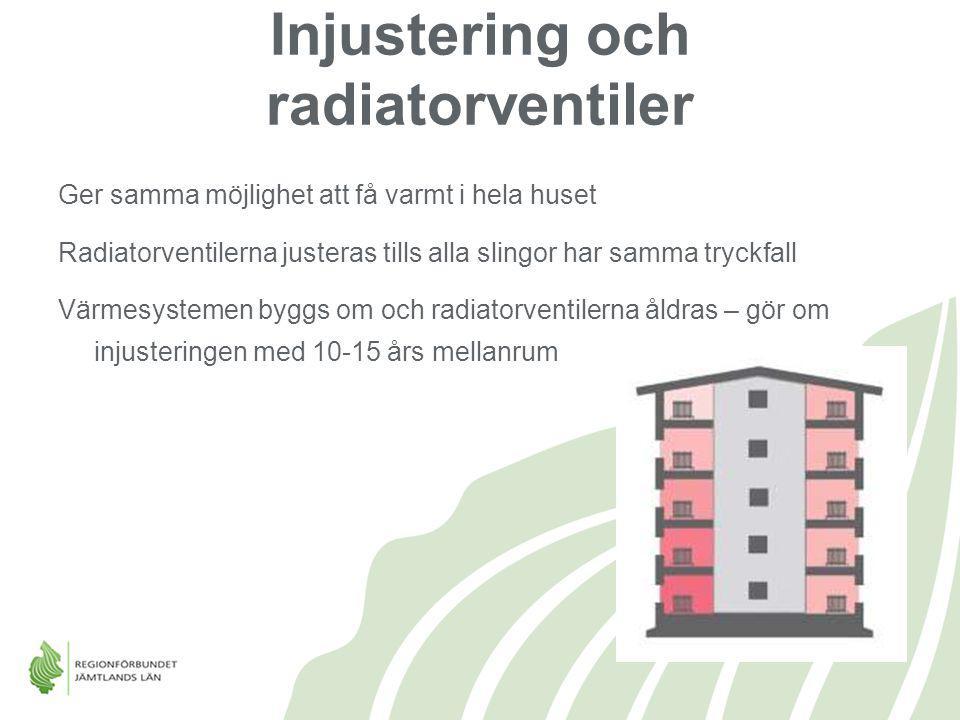 Injustering och radiatorventiler Ger samma möjlighet att få varmt i hela huset Radiatorventilerna justeras tills alla slingor har samma tryckfall Värm