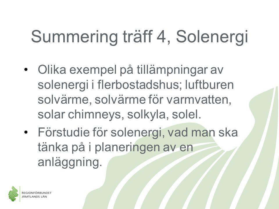 Summering träff 4, Solenergi Olika exempel på tillämpningar av solenergi i flerbostadshus; luftburen solvärme, solvärme för varmvatten, solar chimneys