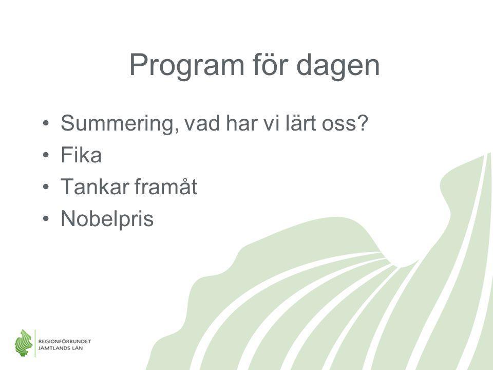 Program för dagen Summering, vad har vi lärt oss? Fika Tankar framåt Nobelpris