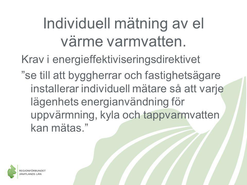"""Individuell mätning av el värme varmvatten. Krav i energieffektiviseringsdirektivet """"se till att byggherrar och fastighetsägare installerar individuel"""