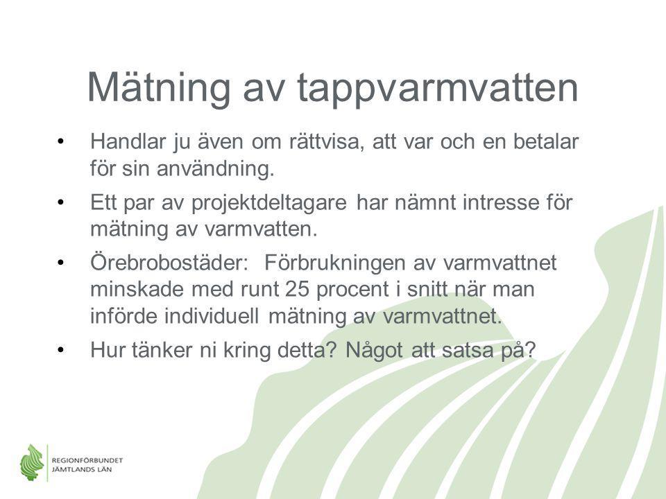 Mätning av tappvarmvatten Handlar ju även om rättvisa, att var och en betalar för sin användning. Ett par av projektdeltagare har nämnt intresse för m
