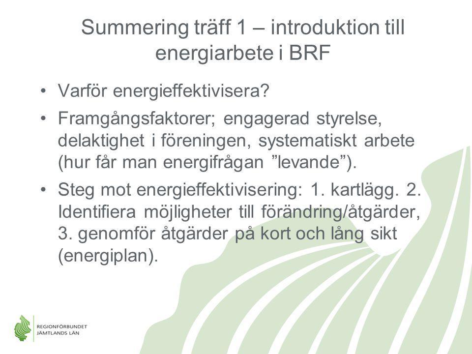 Summering träff 1 – introduktion till energiarbete i BRF Varför energieffektivisera? Framgångsfaktorer; engagerad styrelse, delaktighet i föreningen,