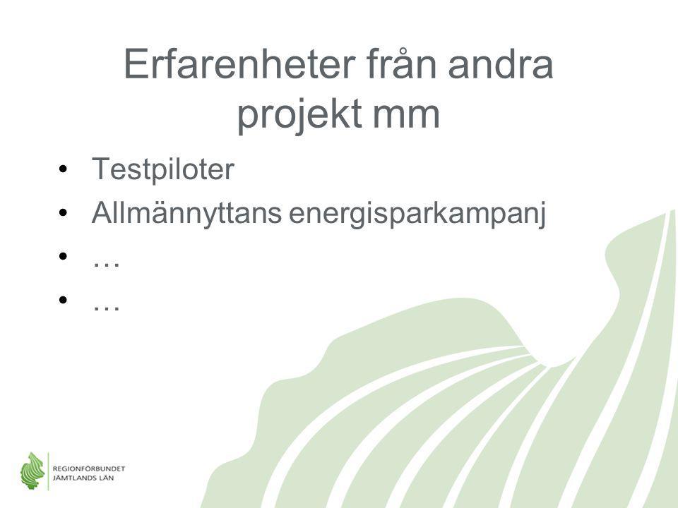 Erfarenheter från andra projekt mm Testpiloter Allmännyttans energisparkampanj …