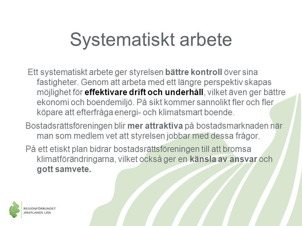 Systematiskt arbete Ett systematiskt arbete ger styrelsen bättre kontroll över sina fastigheter. Genom att arbeta med ett längre perspektiv skapas möj