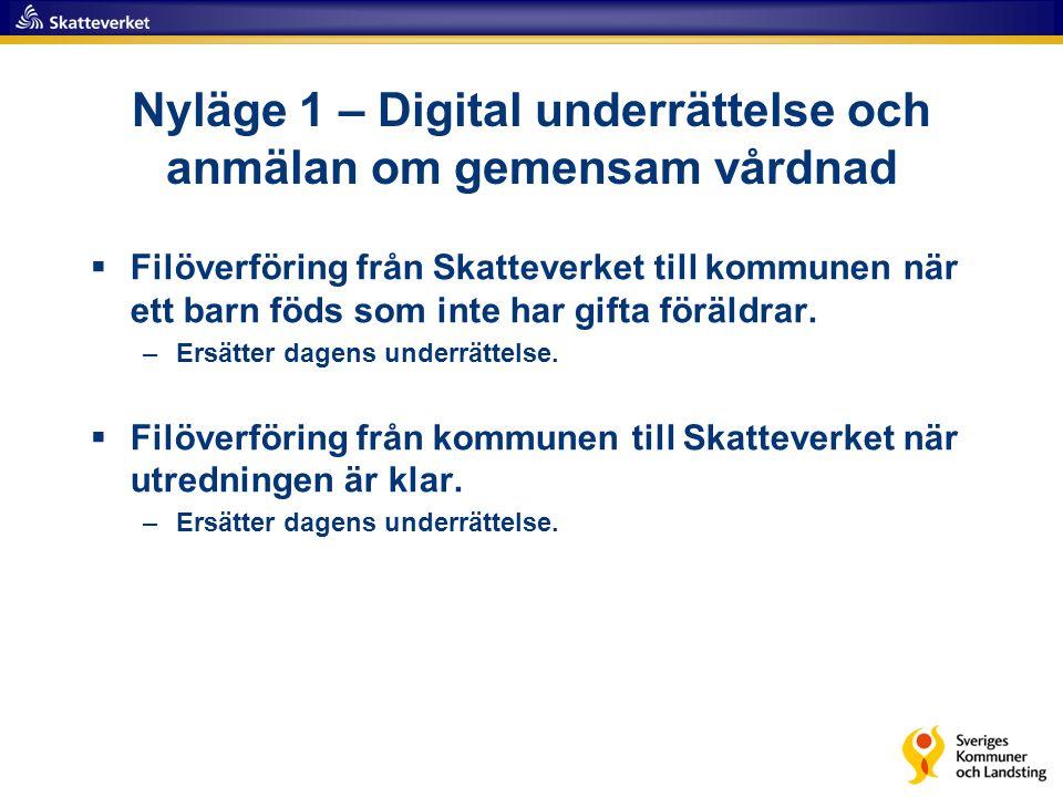 Nyläge 1 – Digital underrättelse och anmälan om gemensam vårdnad  Filöverföring från Skatteverket till kommunen när ett barn föds som inte har gifta