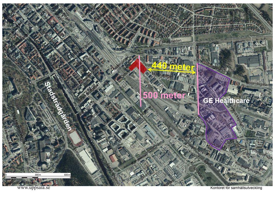 GE Healthcare Stadsträdgården 440 meter 500 meter
