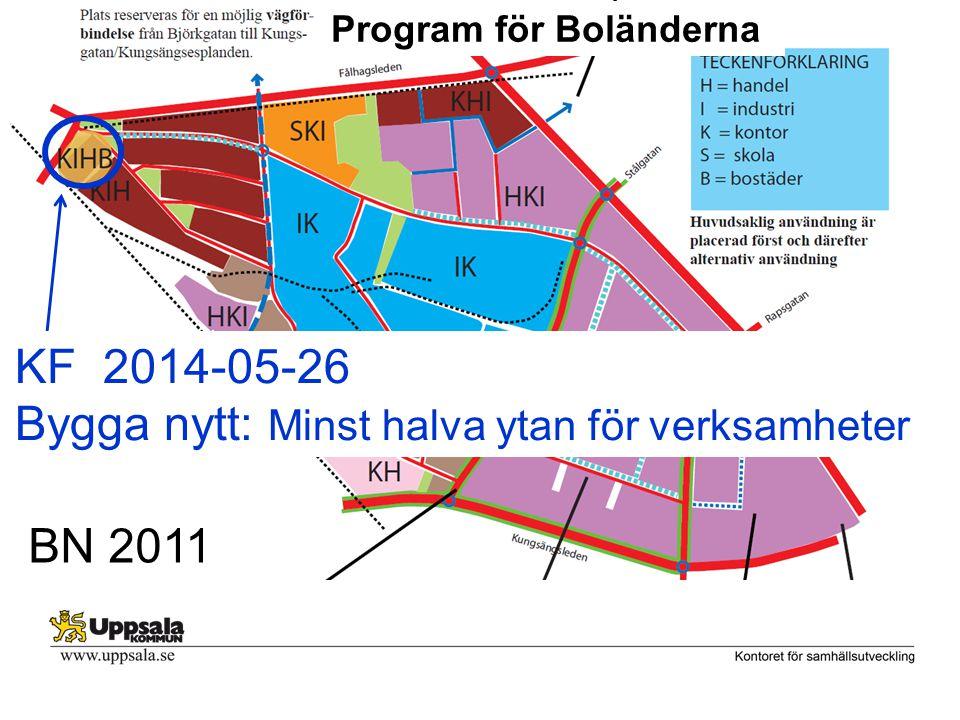 Program för Boländerna BN 2011 KF 2014-05-26 Bygga nytt: Minst halva ytan för verksamheter