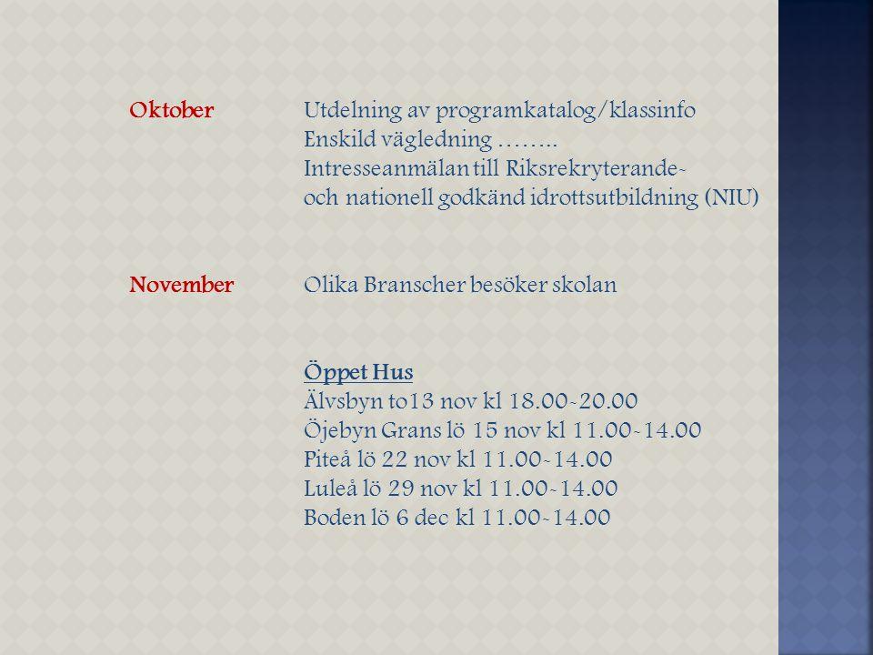 OktoberUtdelning av programkatalog/klassinfo Enskild vägledning …….. Intresseanmälan till Riksrekryterande- och nationell godkänd idrottsutbildning (N