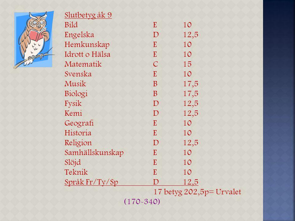 Grundskolan Max 340 poäng A =20 B=17,5 C=15 D=12,5 E=10 F = 0 Gymnasieskolan Max 20 poäng + extra meritpoäng 2,5