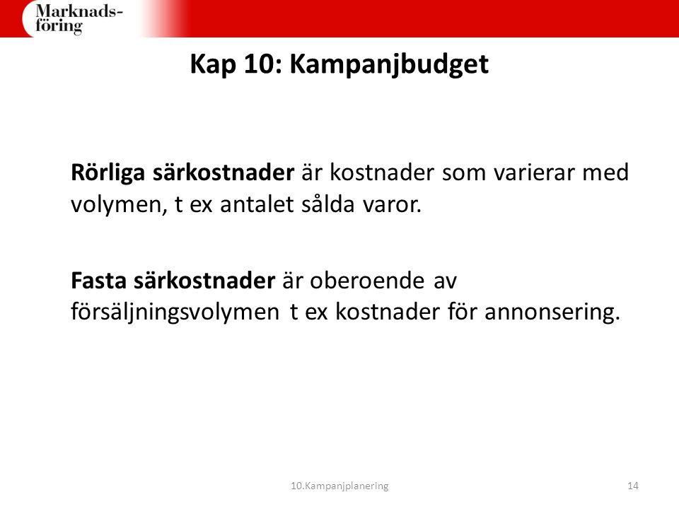 Kap 10: Kampanjbudget Rörliga särkostnader är kostnader som varierar med volymen, t ex antalet sålda varor. Fasta särkostnader är oberoende av försälj