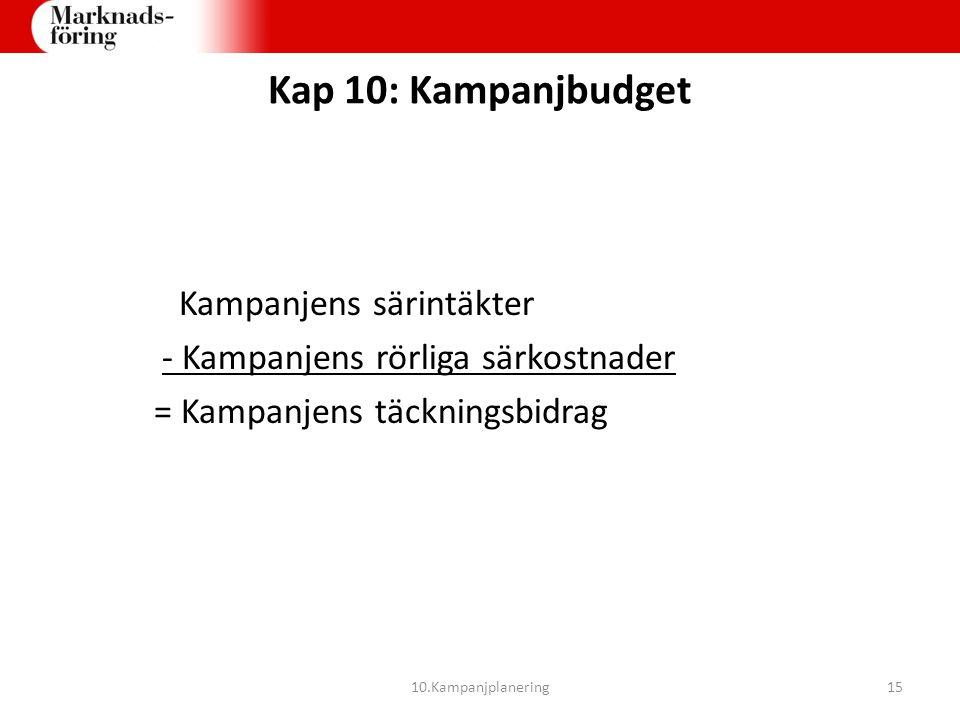 Kap 10: Kampanjbudget Kampanjens särintäkter - Kampanjens rörliga särkostnader = Kampanjens täckningsbidrag 10.Kampanjplanering15