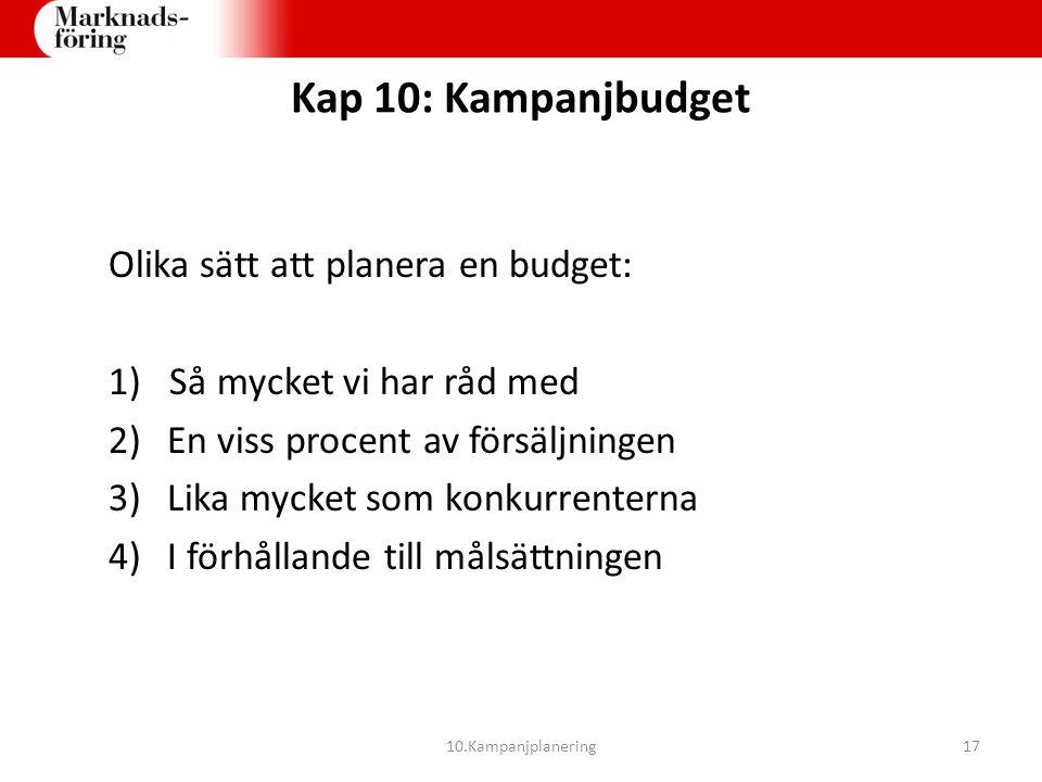 Kap 10: Kampanjbudget Olika sätt att planera en budget: 1) Så mycket vi har råd med 2)En viss procent av försäljningen 3)Lika mycket som konkurrentern