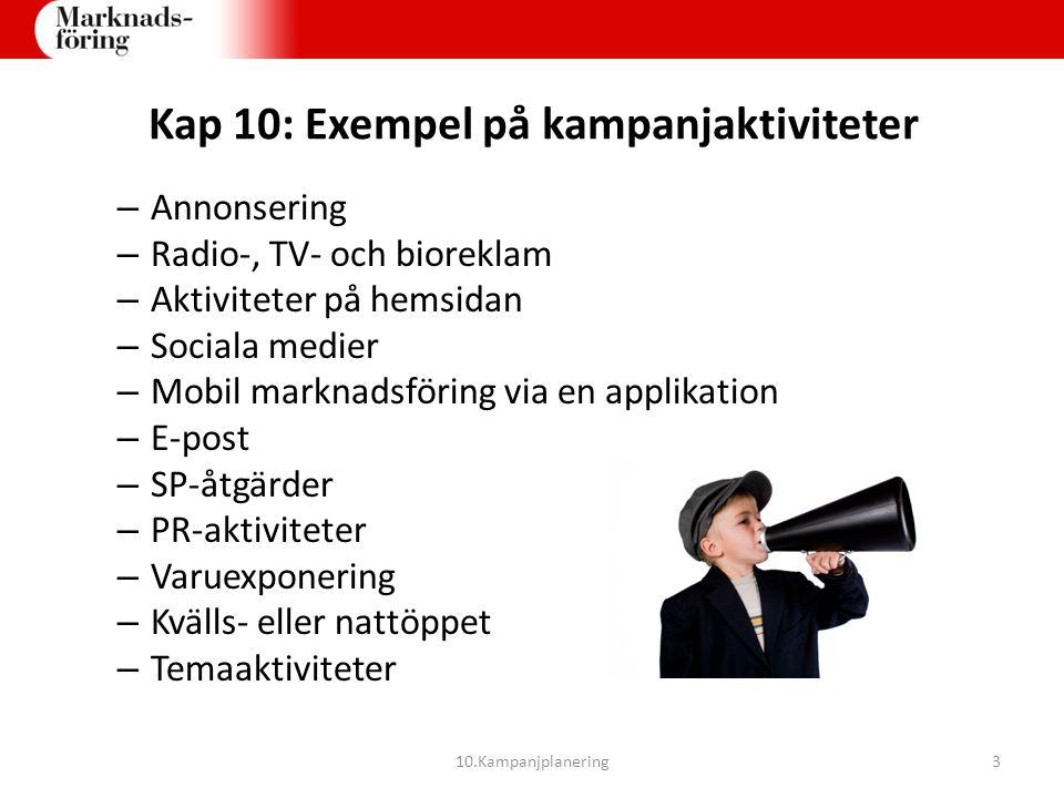 Kap 10: Exempel på kampanjaktiviteter – Annonsering – Radio-, TV- och bioreklam – Aktiviteter på hemsidan – Sociala medier – Mobil marknadsföring via