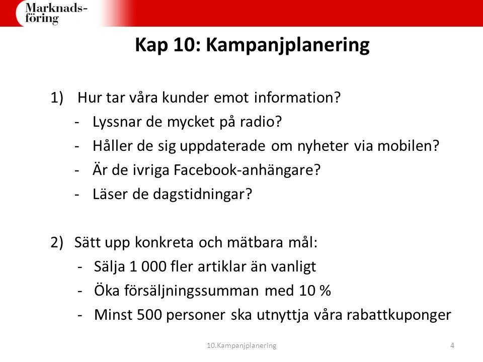 Kap 10: Kampanjplanering 1) Hur tar våra kunder emot information? -Lyssnar de mycket på radio? -Håller de sig uppdaterade om nyheter via mobilen? -Är