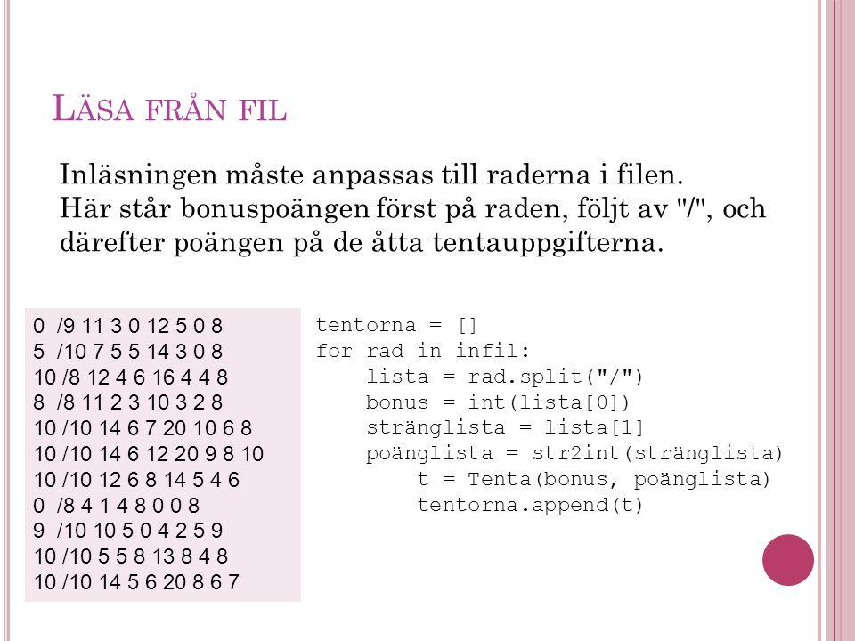 L ÄSA FRÅN FIL tentorna = [] for rad in infil: lista = rad.split( / ) bonus = int(lista[0]) stränglista = lista[1] poänglista = str2int(stränglista) t = Tenta(bonus, poänglista) tentorna.append(t) 0 /9 11 3 0 12 5 0 8 5 /10 7 5 5 14 3 0 8 10 /8 12 4 6 16 4 4 8 8 /8 11 2 3 10 3 2 8 10 /10 14 6 7 20 10 6 8 10 /10 14 6 12 20 9 8 10 10 /10 12 6 8 14 5 4 6 0 /8 4 1 4 8 0 0 8 9 /10 10 5 0 4 2 5 9 10 /10 5 5 8 13 8 4 8 10 /10 14 5 6 20 8 6 7 Inläsningen måste anpassas till raderna i filen.