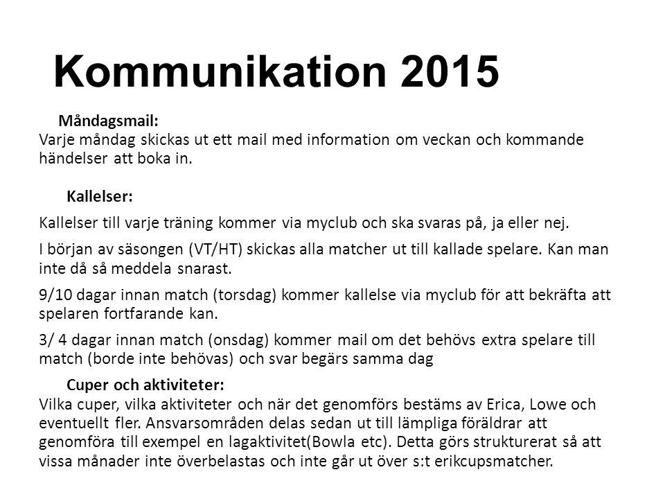 Kommunikation 2015 Måndagsmail: Varje måndag skickas ut ett mail med information om veckan och kommande händelser att boka in. Kallelser: Kallelser ti