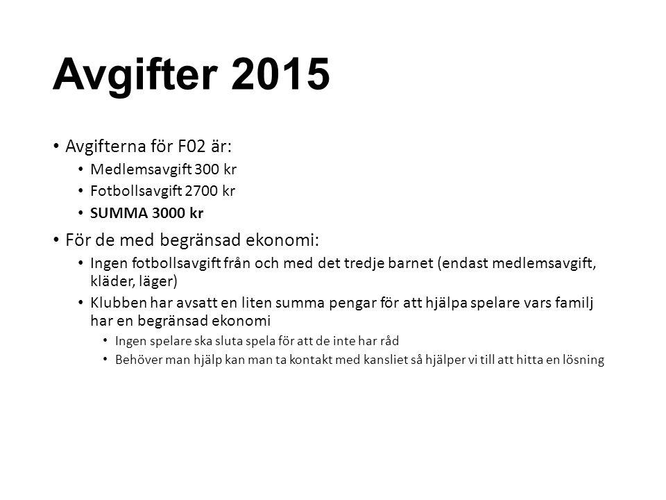 Avgifter 2015 Avgifterna för F02 är: Medlemsavgift 300 kr Fotbollsavgift 2700 kr SUMMA 3000 kr För de med begränsad ekonomi: Ingen fotbollsavgift från
