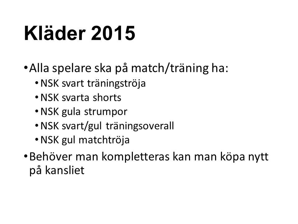 Kläder 2015 Alla spelare ska på match/träning ha: NSK svart träningströja NSK svarta shorts NSK gula strumpor NSK svart/gul träningsoverall NSK gul ma