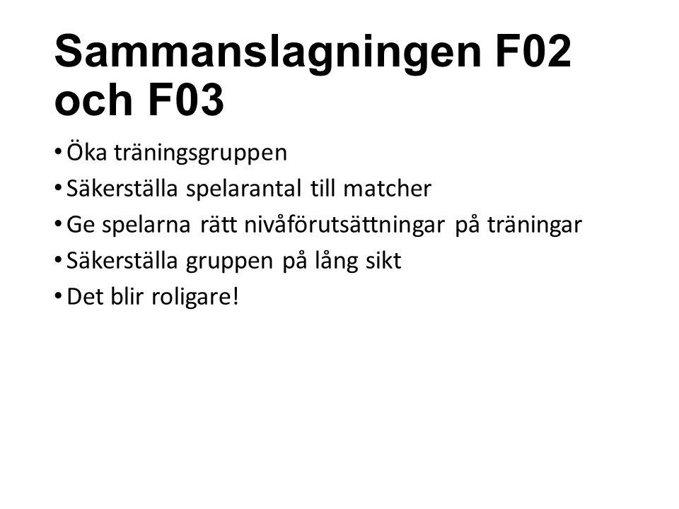 Sammanslagningen F02 och F03 Öka träningsgruppen Säkerställa spelarantal till matcher Ge spelarna rätt nivåförutsättningar på träningar Säkerställa gr
