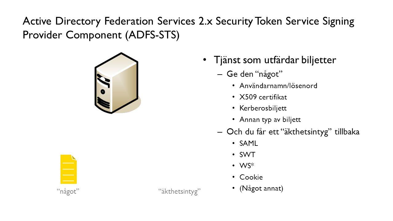 """Active Directory Federation Services 2.x Security Token Service Signing Provider Component (ADFS-STS) Tjänst som utfärdar biljetter – Ge den """"något"""" A"""
