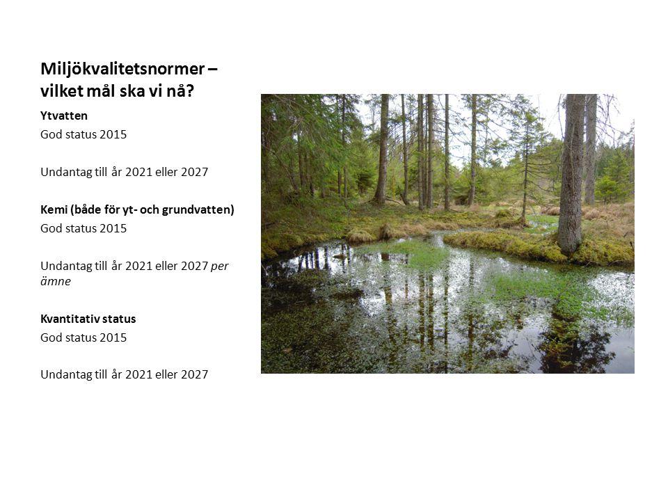 Miljökvalitetsnormer – vilket mål ska vi nå? Ytvatten God status 2015 Undantag till år 2021 eller 2027 Kemi (både för yt- och grundvatten) God status