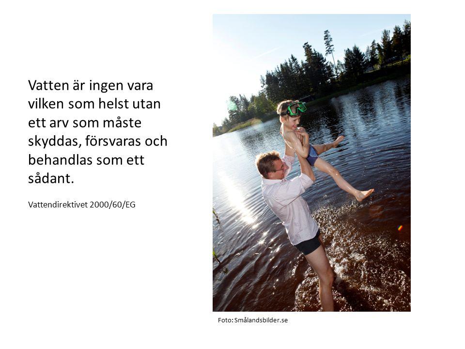 Vatten är ingen vara vilken som helst utan ett arv som måste skyddas, försvaras och behandlas som ett sådant. Vattendirektivet 2000/60/EG Foto: Smålan