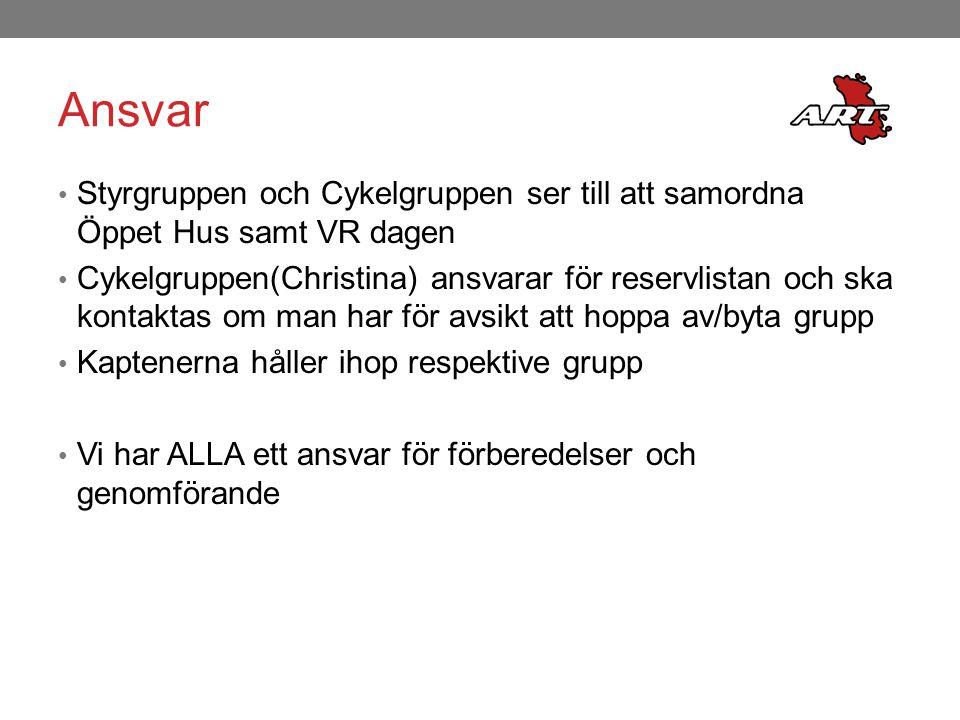 Ansvar Styrgruppen och Cykelgruppen ser till att samordna Öppet Hus samt VR dagen Cykelgruppen(Christina) ansvarar för reservlistan och ska kontaktas