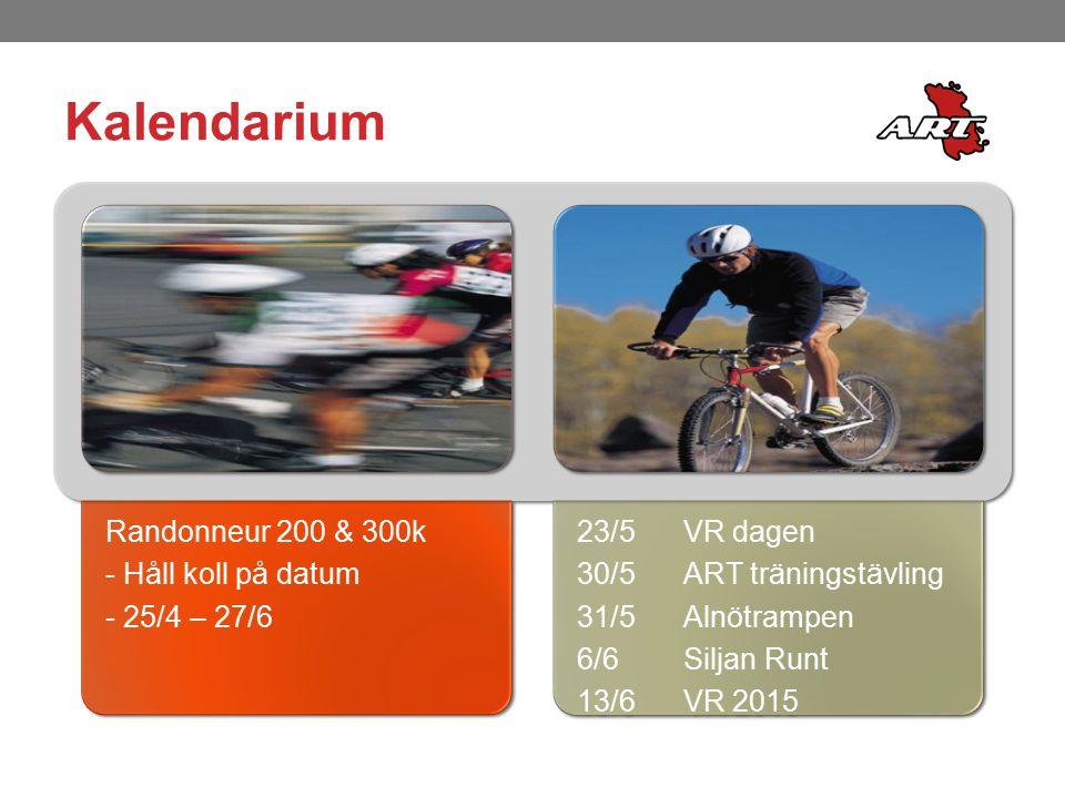 Kalendarium Randonneur 200 & 300k - Håll koll på datum - 25/4 – 27/6 23/5VR dagen 30/5ART träningstävling 31/5 Alnötrampen 6/6Siljan Runt 13/6VR 2015