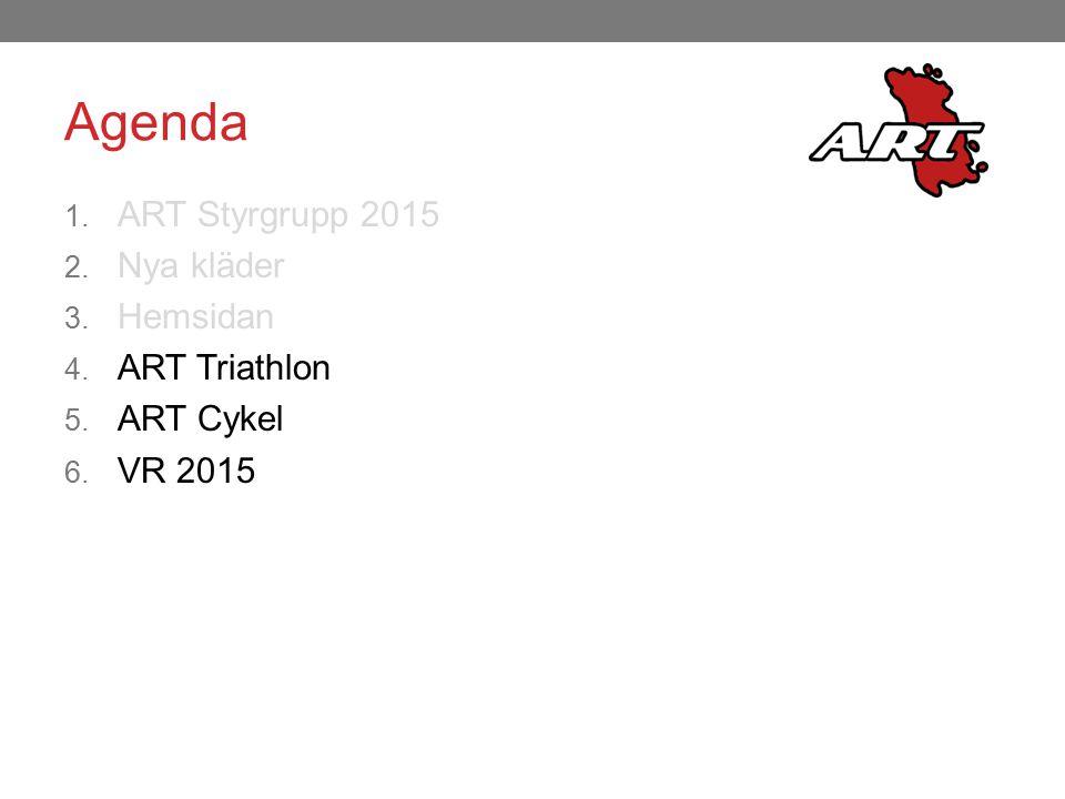 Agenda 1. ART Styrgrupp 2015 2. Nya kläder 3. Hemsidan 4. ART Triathlon 5. ART Cykel 6. VR 2015