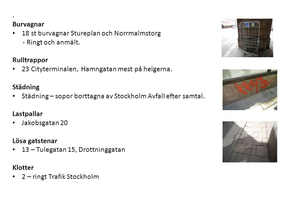 . Burvagnar 18 st burvagnar Stureplan och Norrmalmstorg - Ringt och anmält. Rulltrappor 23 Cityterminalen, Hamngatan mest på helgerna. Städning Städni