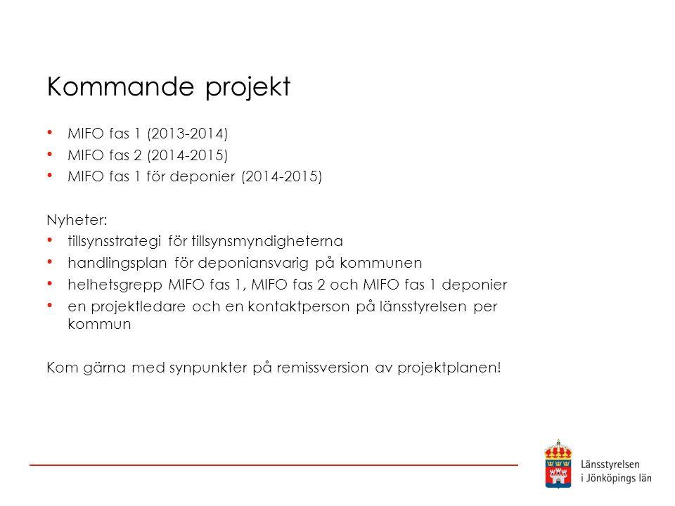 Kommande projekt MIFO fas 1 (2013-2014) MIFO fas 2 (2014-2015) MIFO fas 1 för deponier (2014-2015) Nyheter: tillsynsstrategi för tillsynsmyndigheterna