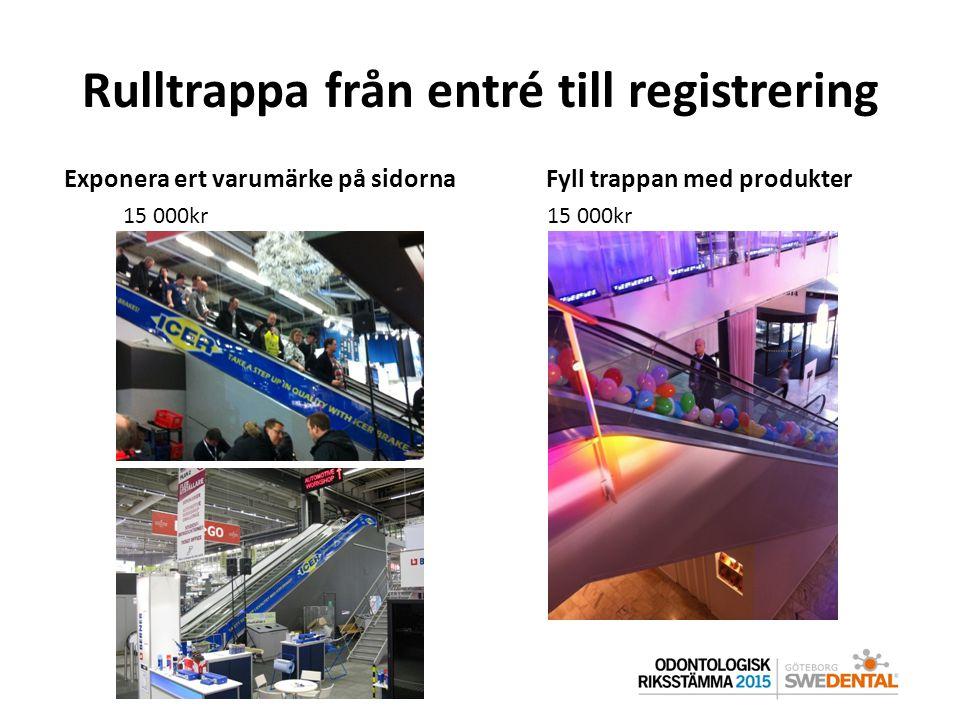 Rulltrappa från entré till registrering Exponera ert varumärke på sidornaFyll trappan med produkter 15 000kr