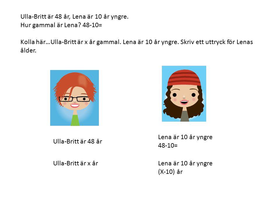 Ulla-Britt är 48 år, Lena är 10 år yngre. Hur gammal är Lena? 48-10= Kolla här…Ulla-Britt är x år gammal. Lena är 10 år yngre. Skriv ett uttryck för L