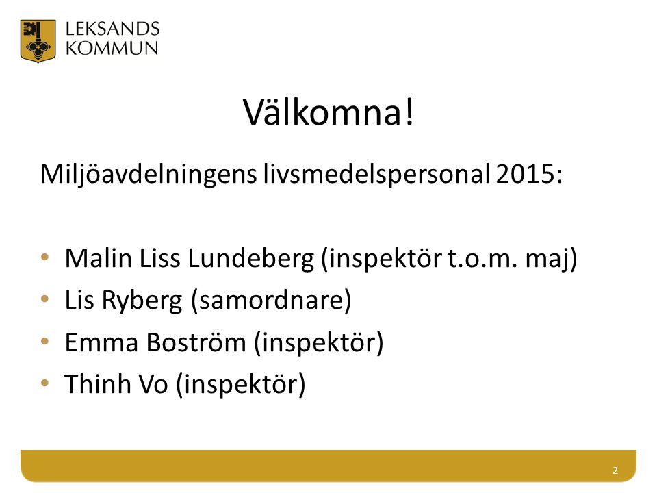 Välkomna! Miljöavdelningens livsmedelspersonal 2015: Malin Liss Lundeberg (inspektör t.o.m. maj) Lis Ryberg (samordnare) Emma Boström (inspektör) Thin