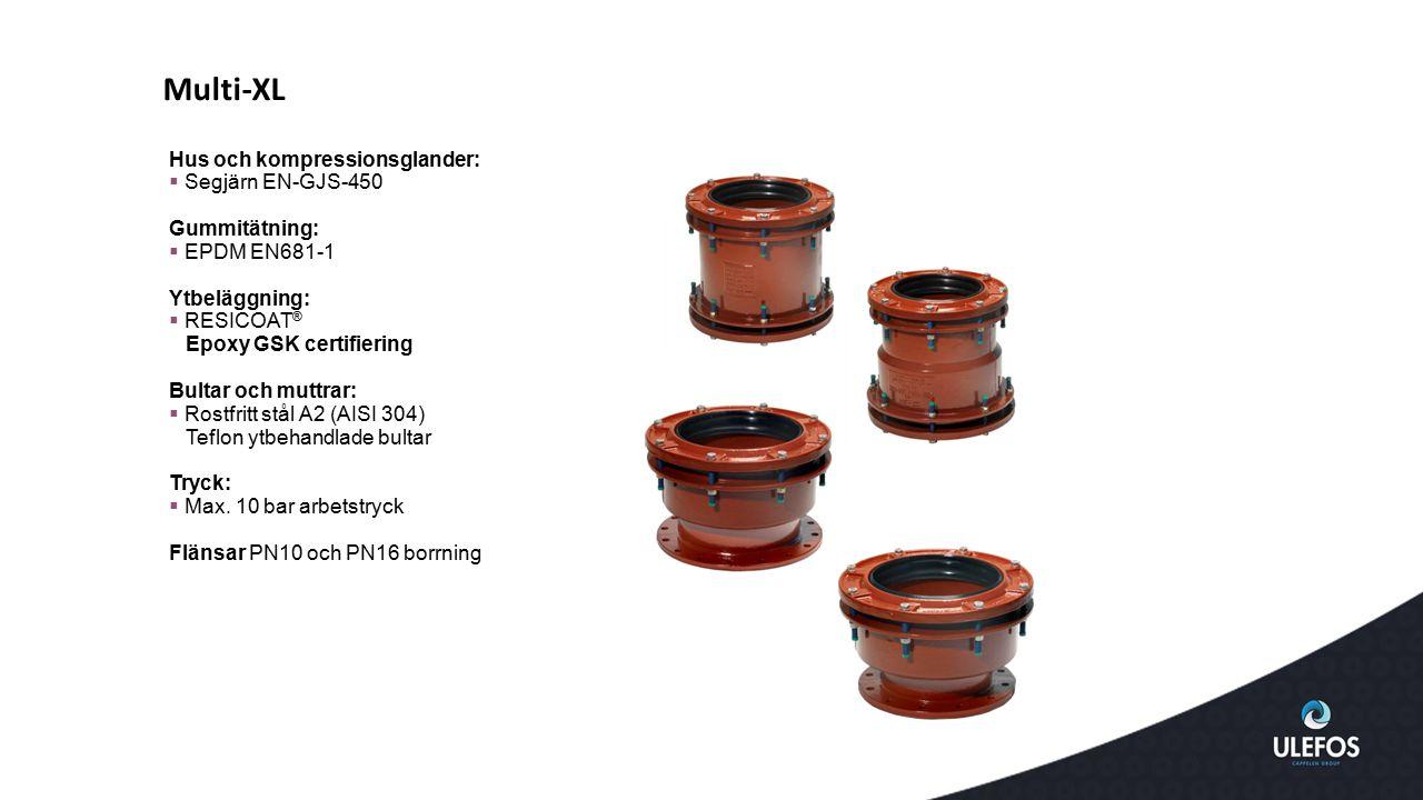 Hus och kompressionsglander:  Segjärn EN-GJS-450 Gummitätning:  EPDM EN681-1 Ytbeläggning:  RESICOAT ® Epoxy GSK certifiering Bultar och muttrar: 