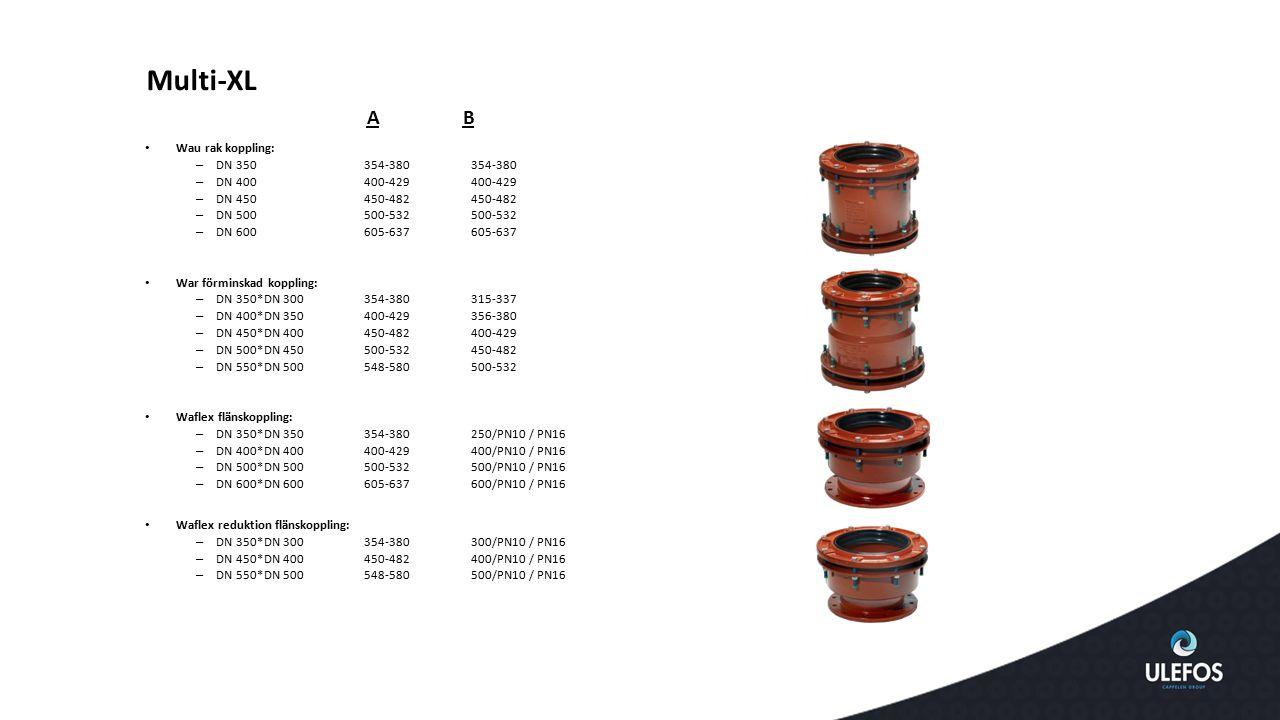 Multi-XL Wau rak koppling: – DN 350 354-380 354-380 – DN 400 400-429 400-429 – DN 450 450-482 450-482 – DN 500 500-532 500-532 – DN 600 605-637 605-63