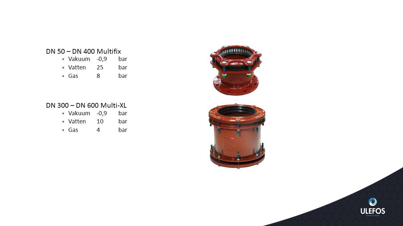 DN 50 – DN 400Multifix  Vakuum -0,9bar  Vatten25 bar  Gas8bar DN 300 – DN 600 Multi-XL  Vakuum -0,9bar  Vatten10 bar  Gas4bar