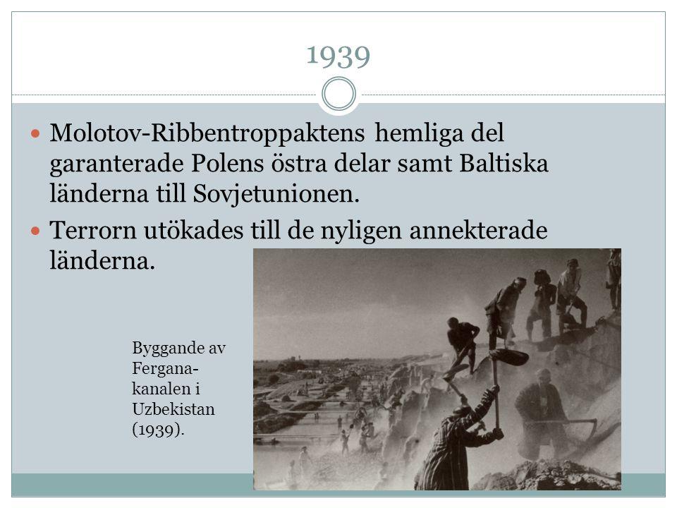 1939 Molotov-Ribbentroppaktens hemliga del garanterade Polens östra delar samt Baltiska länderna till Sovjetunionen. Terrorn utökades till de nyligen