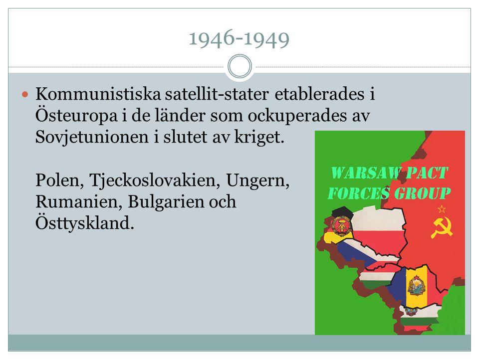 1946-1949 Kommunistiska satellit-stater etablerades i Östeuropa i de länder som ockuperades av Sovjetunionen i slutet av kriget. Polen, Tjeckoslovakie