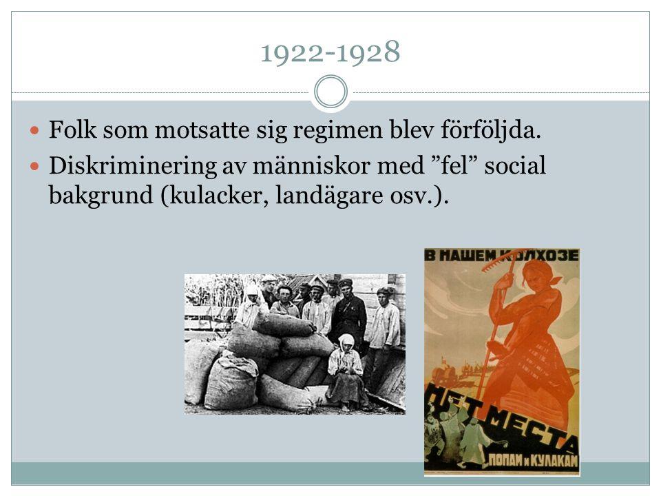 """1922-1928 Folk som motsatte sig regimen blev förföljda. Diskriminering av människor med """"fel"""" social bakgrund (kulacker, landägare osv.)."""
