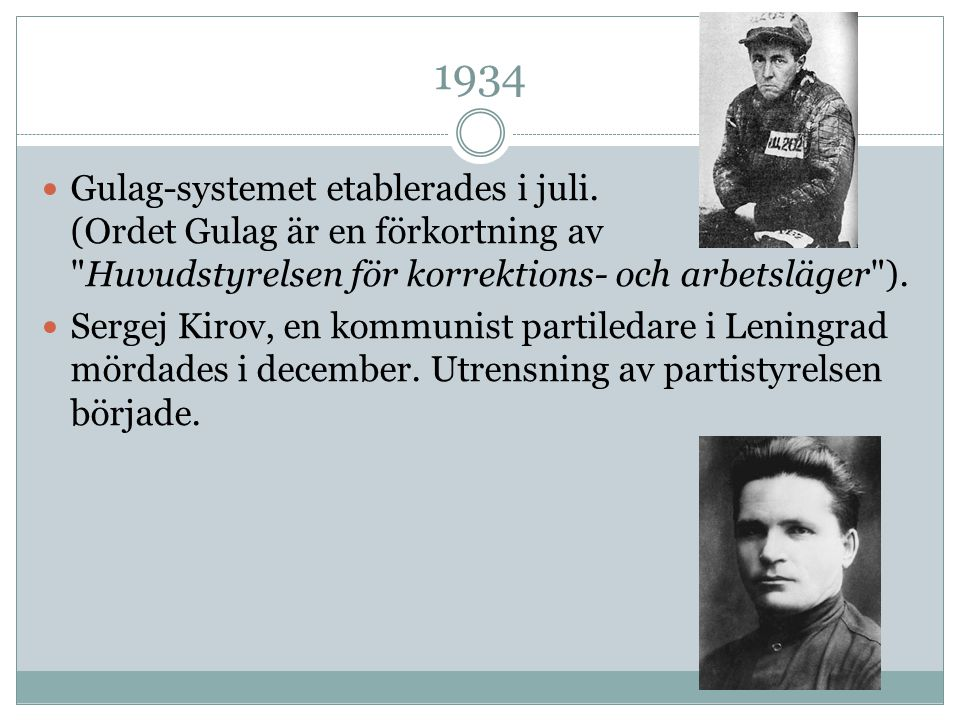 1934 Gulag-systemet etablerades i juli. (Ordet Gulag är en förkortning av