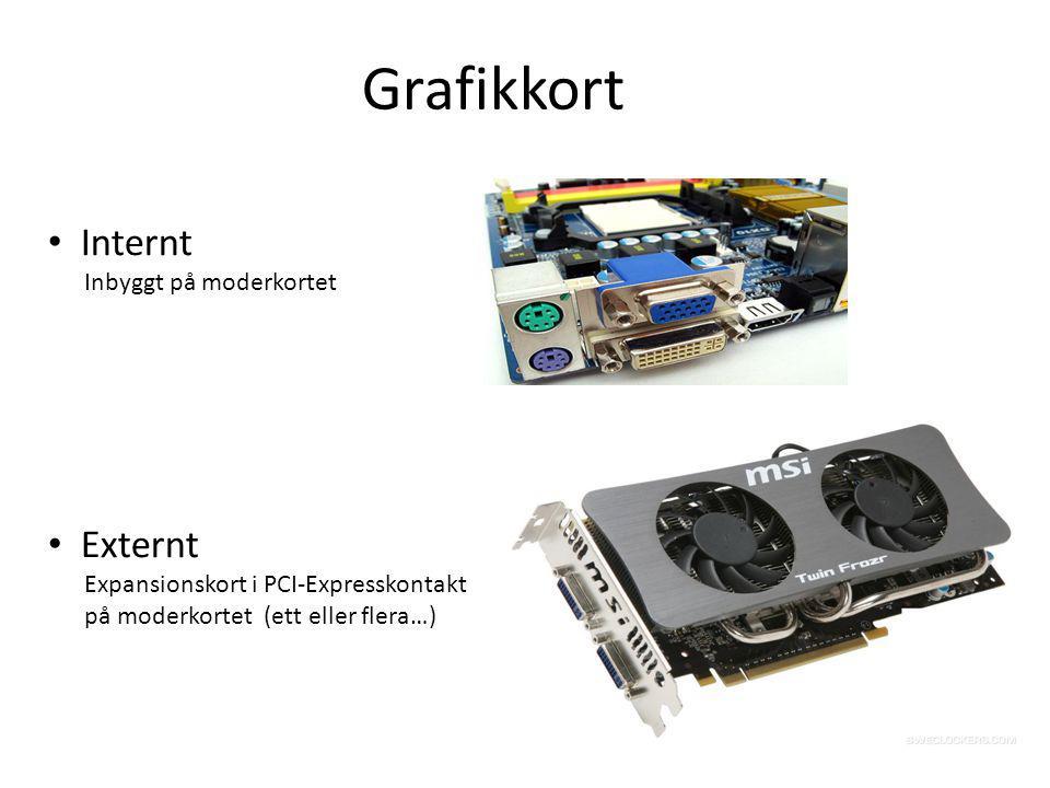 Grafikkort Internt Inbyggt på moderkortet Externt Expansionskort i PCI-Expresskontakt på moderkortet (ett eller flera…)