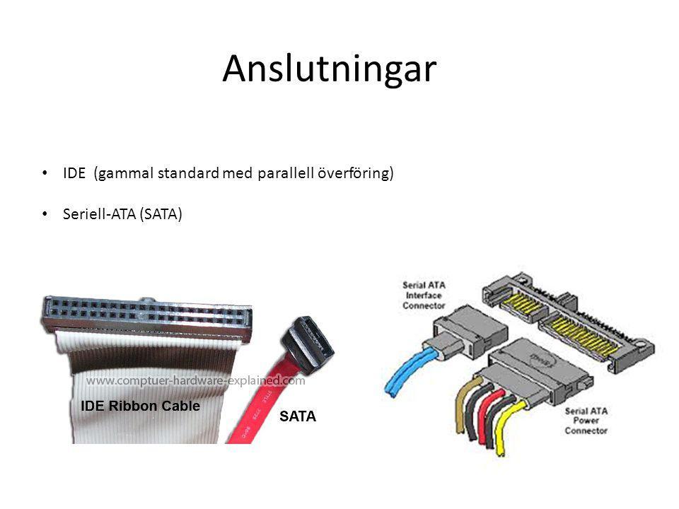 Anslutningar IDE (gammal standard med parallell överföring) Seriell-ATA (SATA)