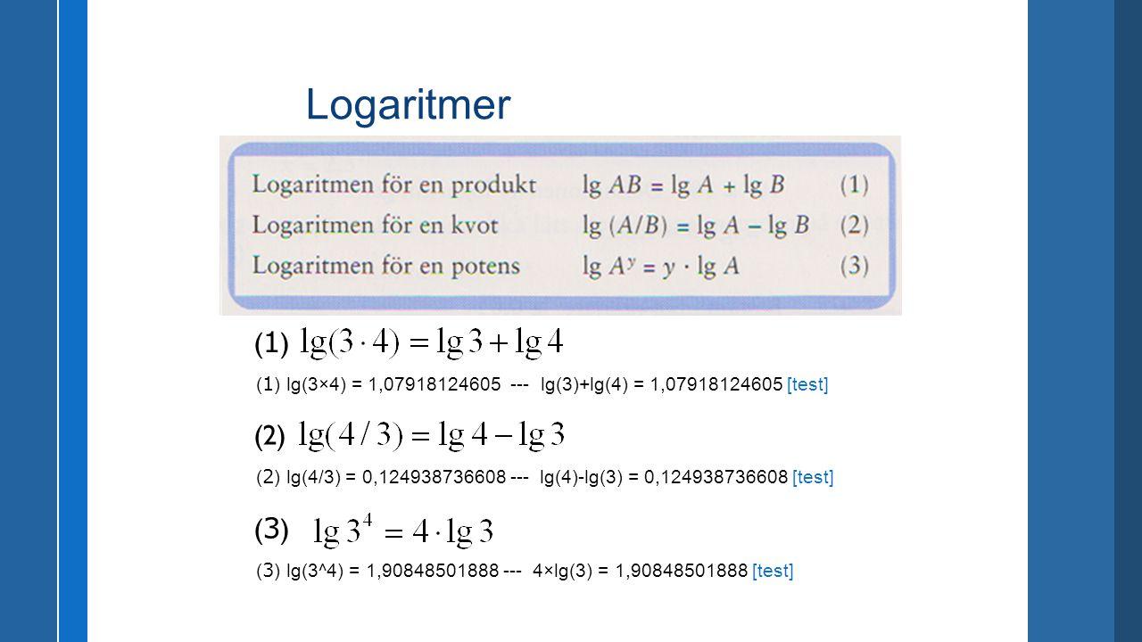 (1)(1) ( 1 ) lg(3×4) = 1,07918124605 --- lg(3)+lg(4) = 1,07918124605 [test] (2) ( 2 ) lg(4/3) = 0,124938736608 --- lg(4)-lg(3) = 0,124938736608 [test]