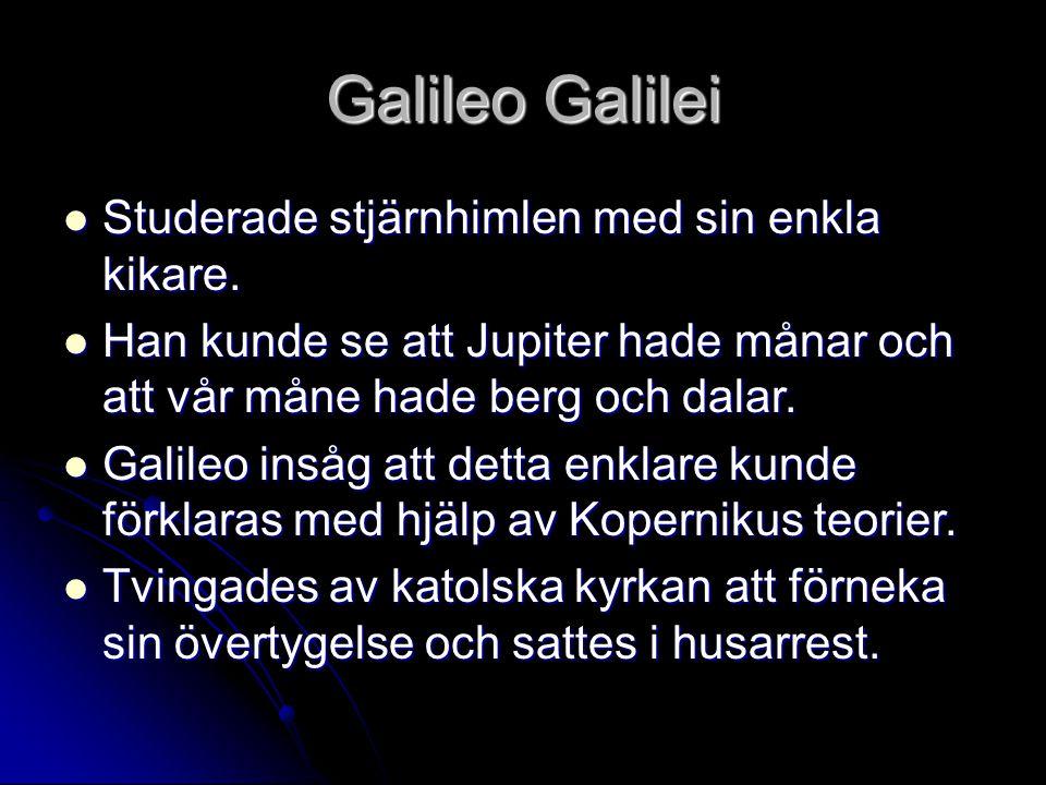 Galileo Galilei Studerade stjärnhimlen med sin enkla kikare. Studerade stjärnhimlen med sin enkla kikare. Han kunde se att Jupiter hade månar och att