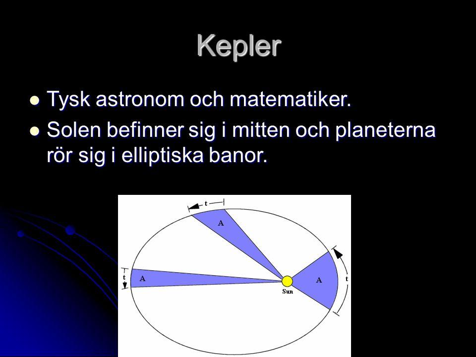 Kepler Tysk astronom och matematiker. Tysk astronom och matematiker. Solen befinner sig i mitten och planeterna rör sig i elliptiska banor. Solen befi