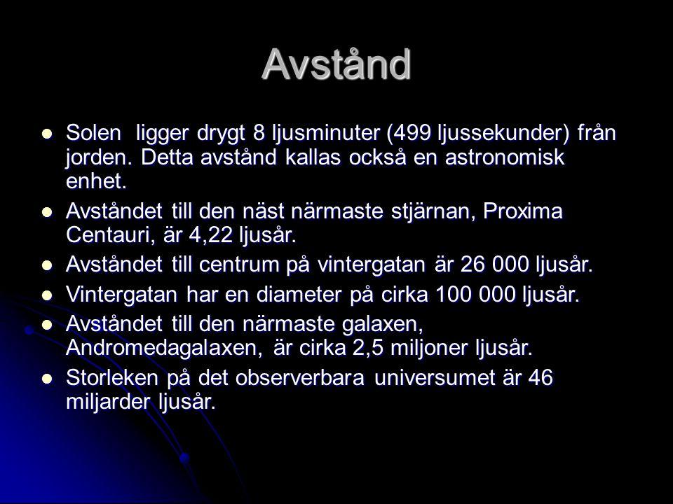 Avstånd Solen ligger drygt 8 ljusminuter (499 ljussekunder) från jorden. Detta avstånd kallas också en astronomisk enhet. Solen ligger drygt 8 ljusmin