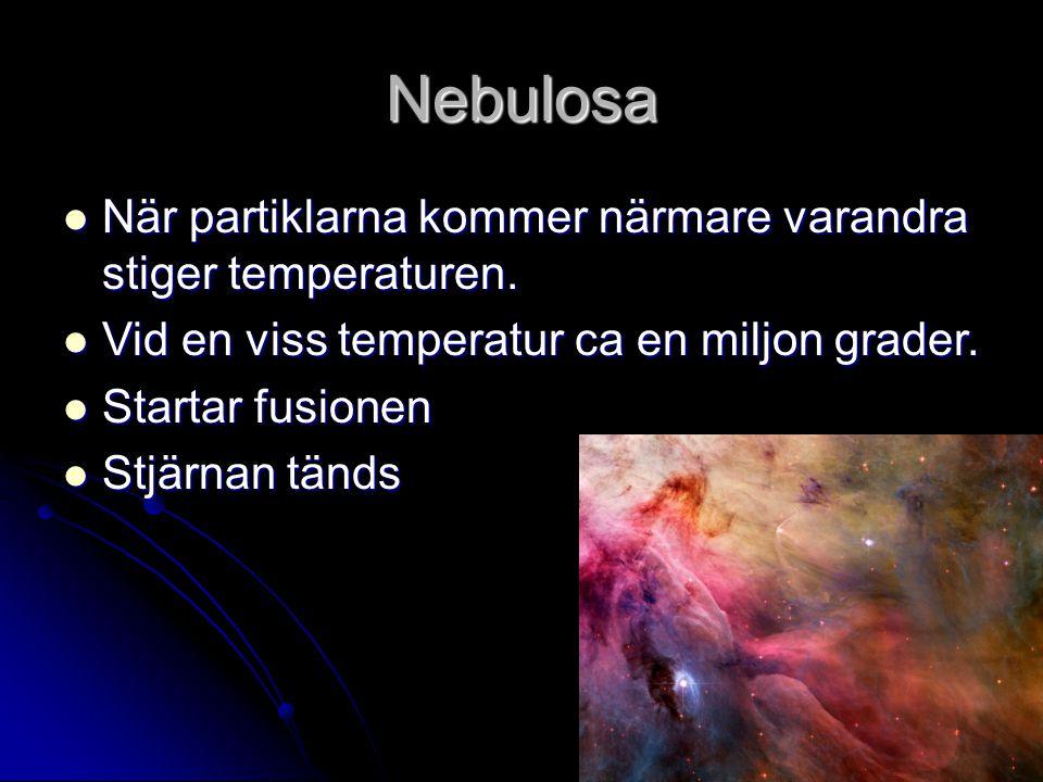 Nebulosa När partiklarna kommer närmare varandra stiger temperaturen. När partiklarna kommer närmare varandra stiger temperaturen. Vid en viss tempera