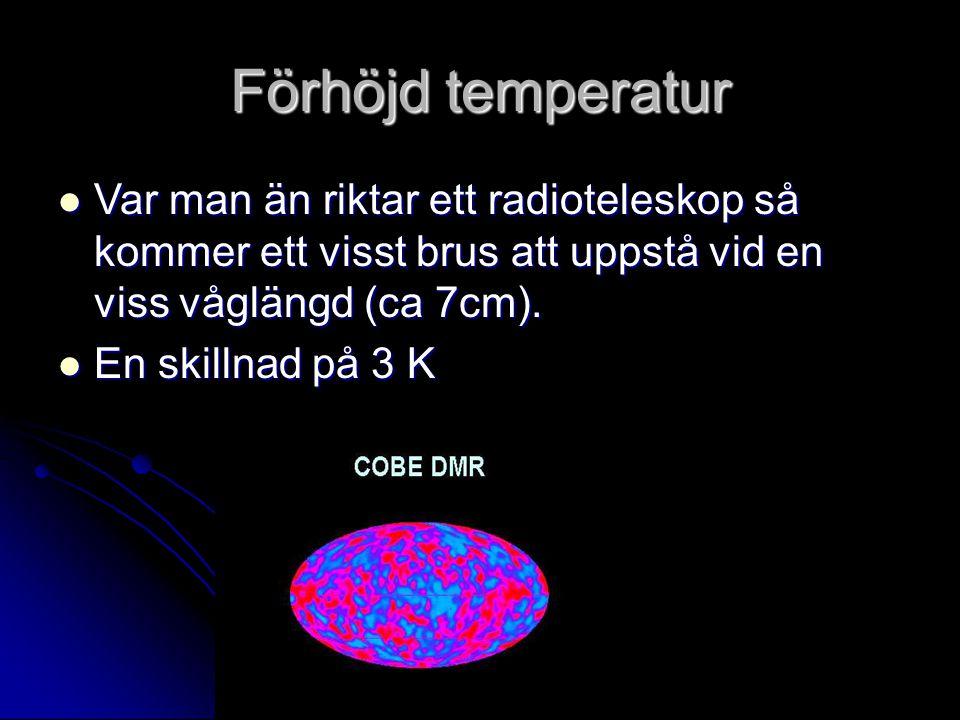 Förhöjd temperatur Var man än riktar ett radioteleskop så kommer ett visst brus att uppstå vid en viss våglängd (ca 7cm). Var man än riktar ett radiot